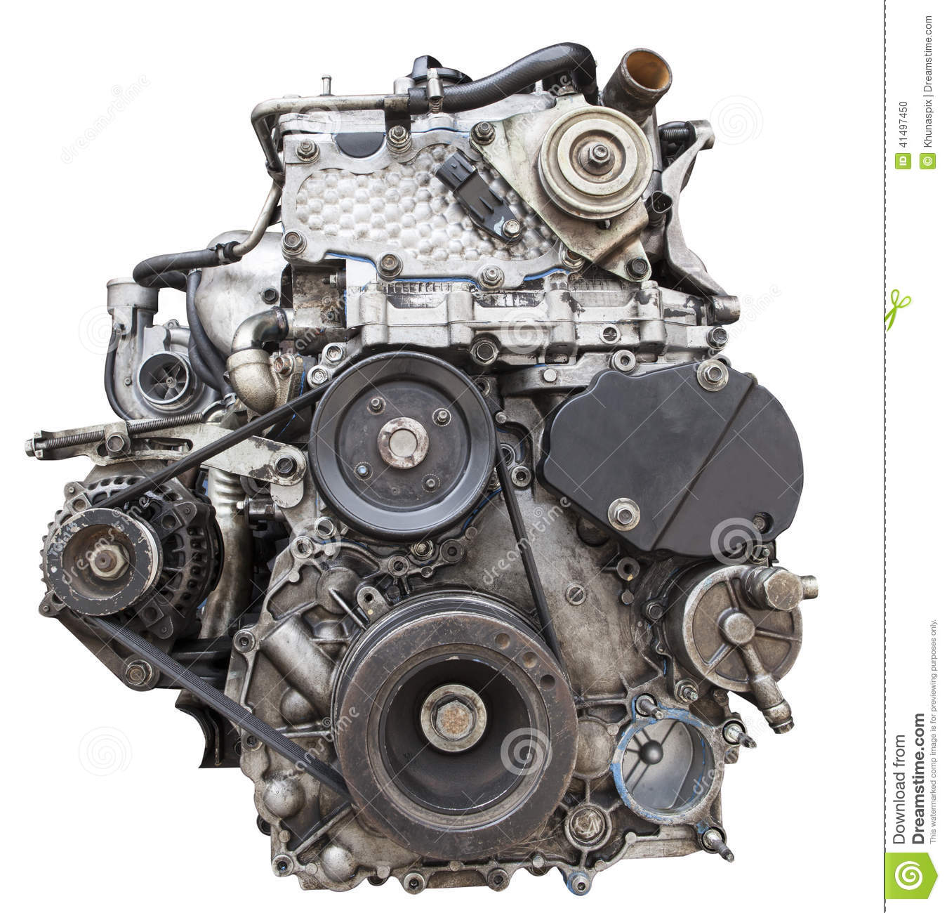Front View Of Old Diesel Engine Isolated White Background