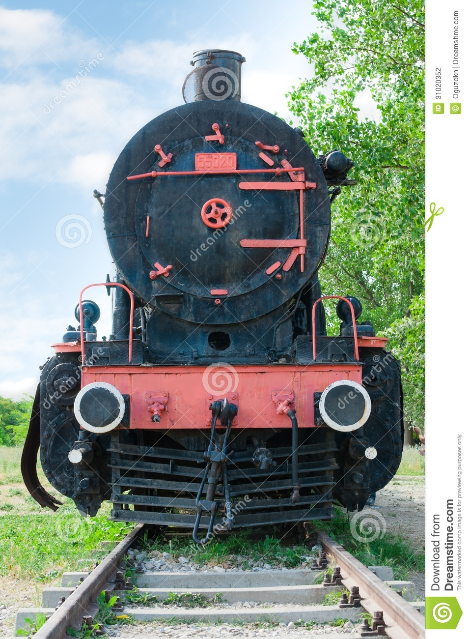 Steam Locomotive Front View Of Old Fashioned In Ed Stock ...
