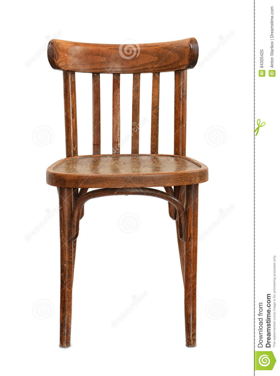 Wooden chair front view - Front View Of Old Wooden Chair Stock Photo