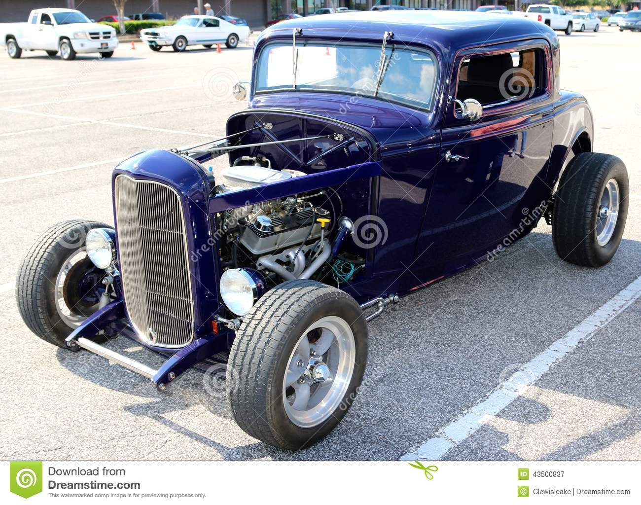 front view of purple 1940's ford t-bucket antique convertible car