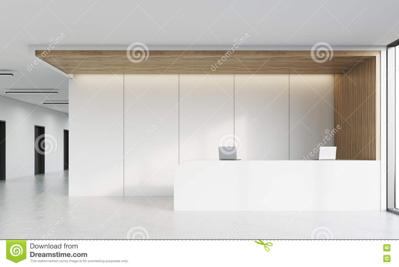 Front View Of Reception Desk In Corridor Royalty Free