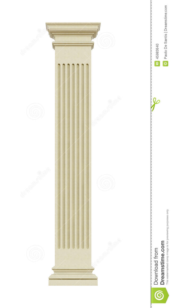 Front View Of A Rectangular Stone Column Stock