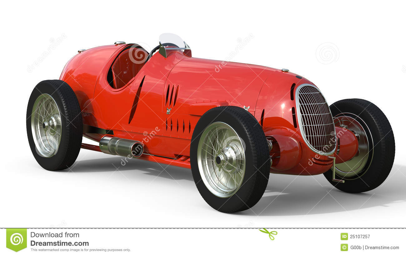 Front View Of A Red Old Race Car Stock Illustration - Illustration ...