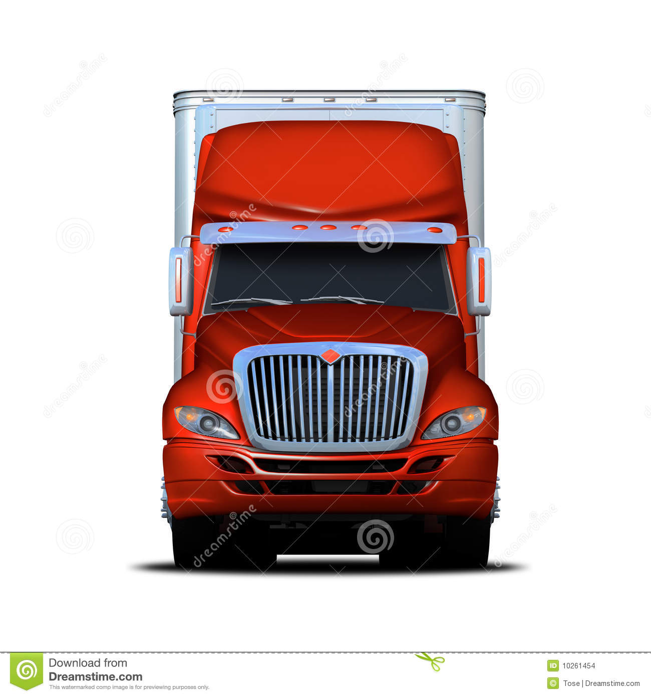 Front View Rendering Of Red And White Semi-truck Stock ...