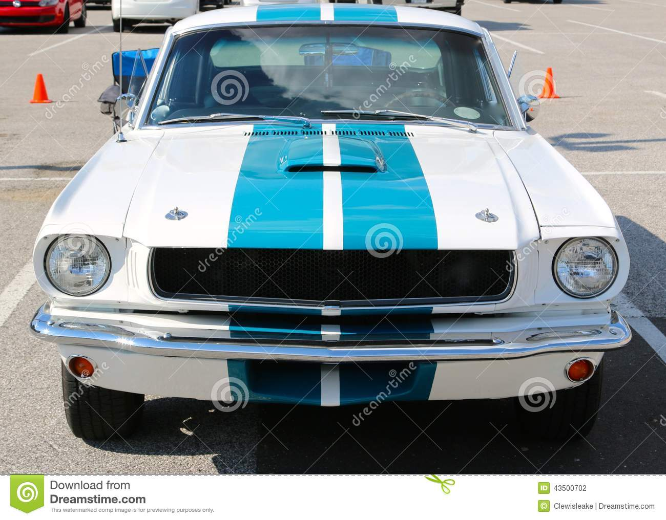 1960s model white and blue mustang shelby fastback