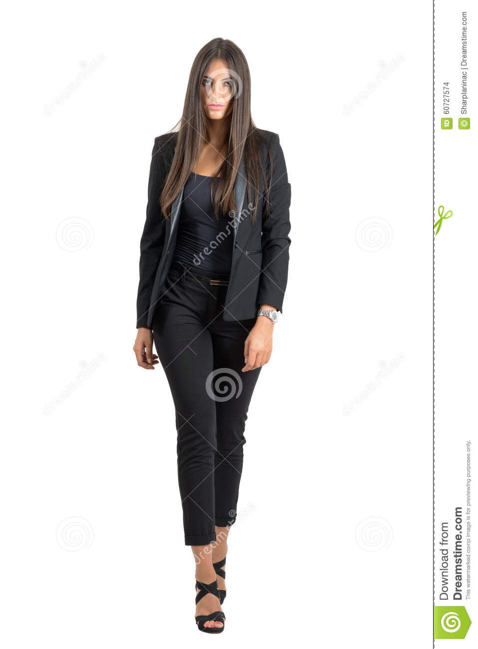 Front View Of Sexy Serious Tough Woman Walking Towards ...