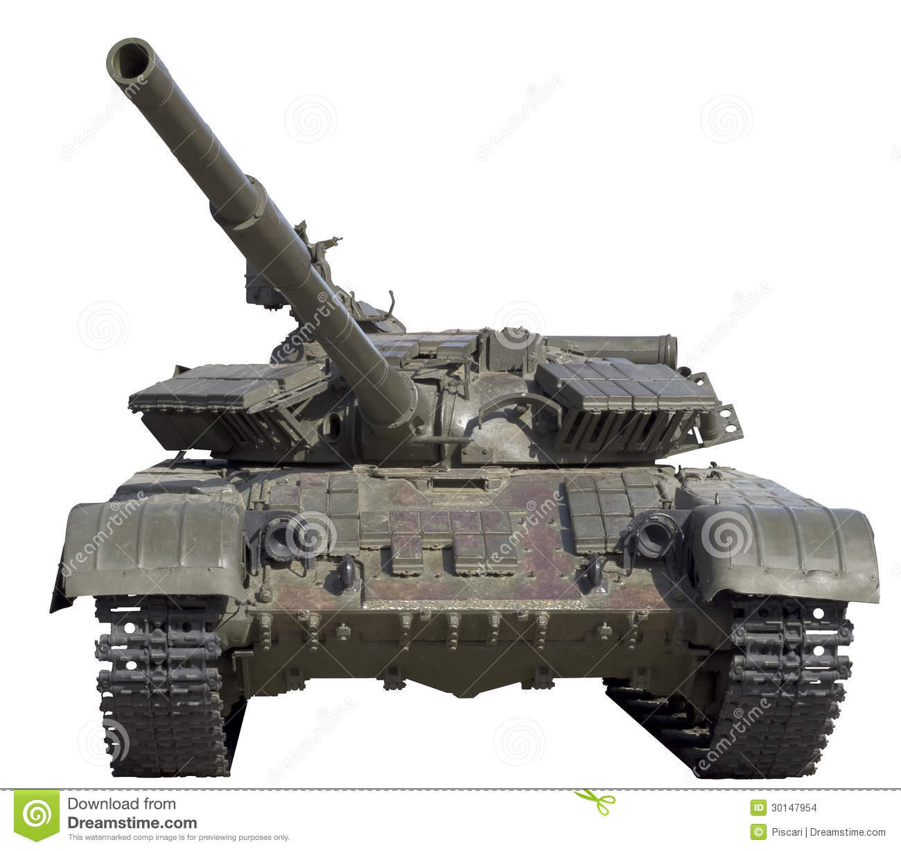 Front view of soviet middle tank T-72 isolated on white.