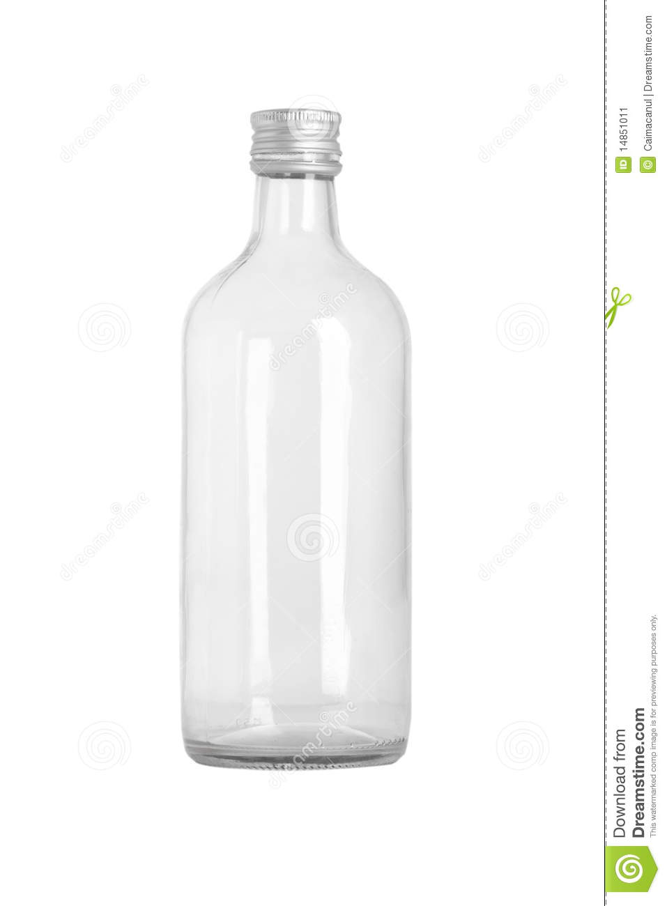 Front view of transparent glass bottle