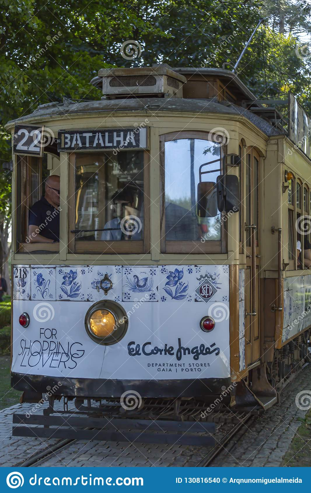 Front view of typical traditional trolley car, Oporto