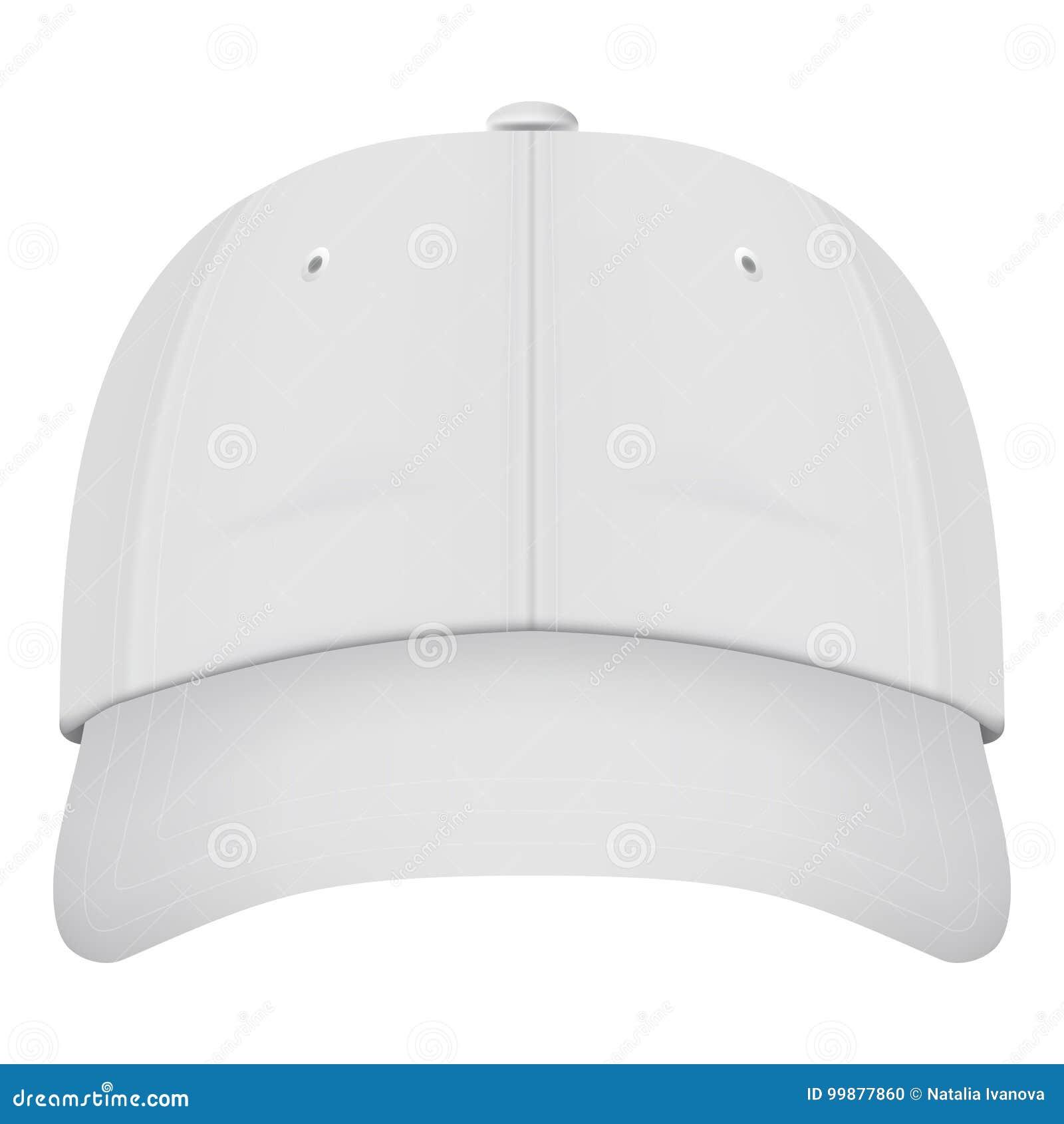 Front View White Baseball Cap realista aislado en un fondo blanco  Ilustración del vector 1952233a806