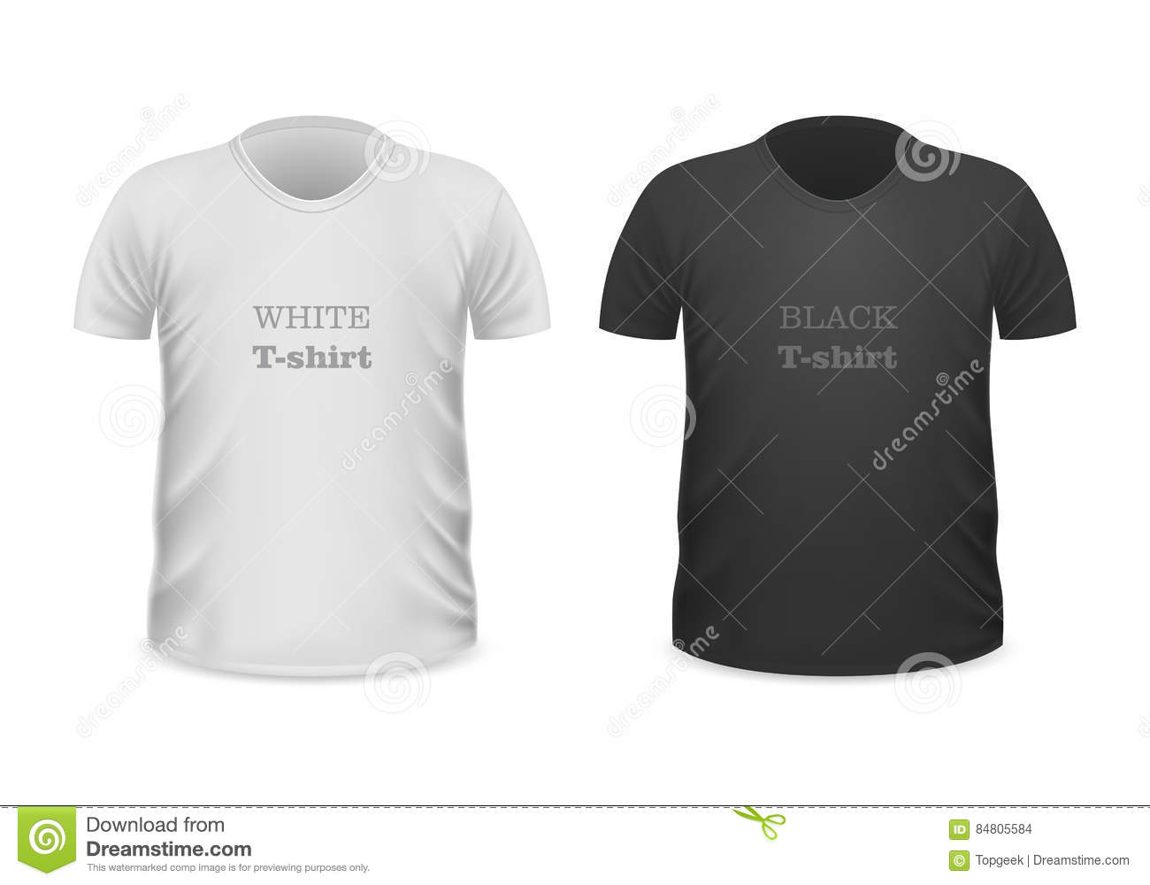 Black t shirt vector - Front View White And Black T Shirts Stock Vector