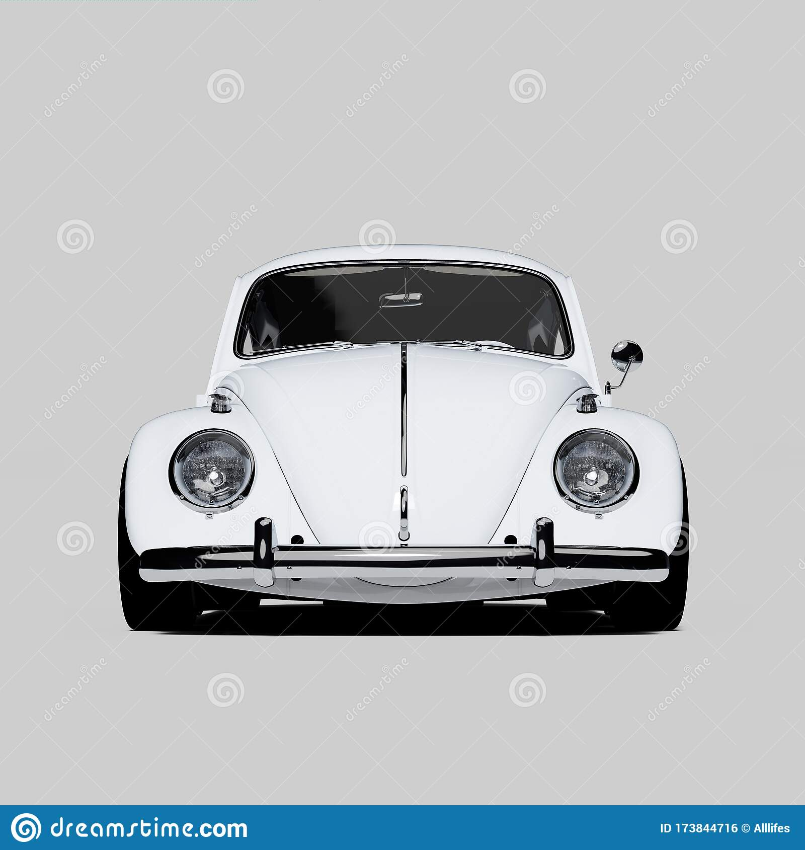 Front View Of White Classic Custom Volkswagen Beetle Bug Kafer Car Isolated On Neutral Background Stock Illustration Illustration Of Model Automobile 173844716