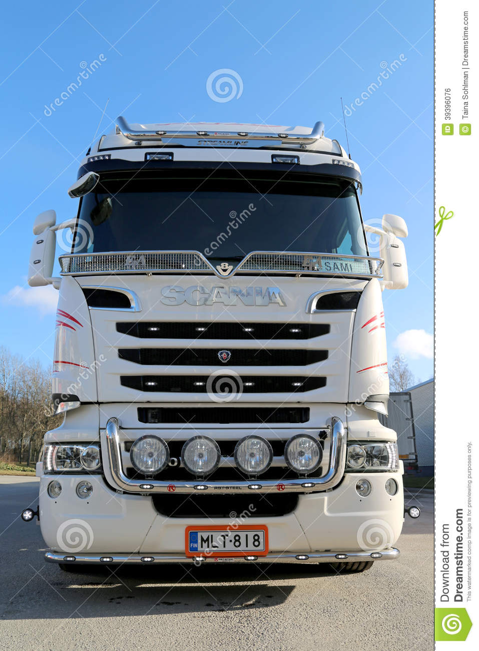 Front View Of White Scania Truck Editorial Photo Image