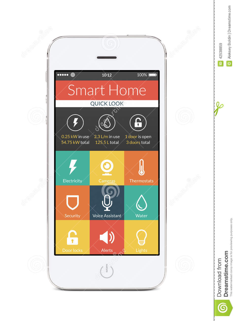 d9281a0f4628 Directly front view of white smartphone with flat design smart home  application on the screen isolated on white background.