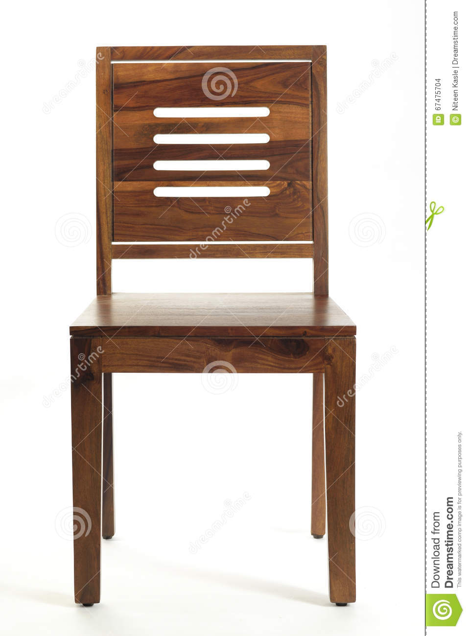 Wooden chair front view - Front View Of Wooden Chair On White Background Stock Photo
