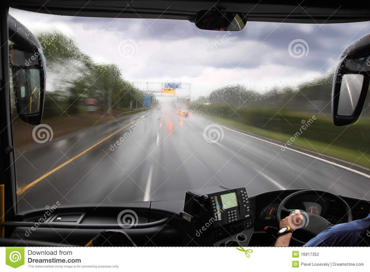 Front Window Of Bus And Road Stock Photography Image
