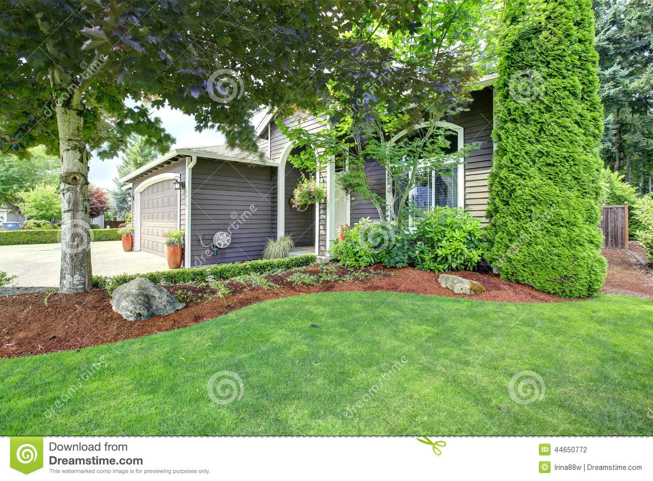 Front yard landscape design stock photo image 44650772 for Home entrance landscape design