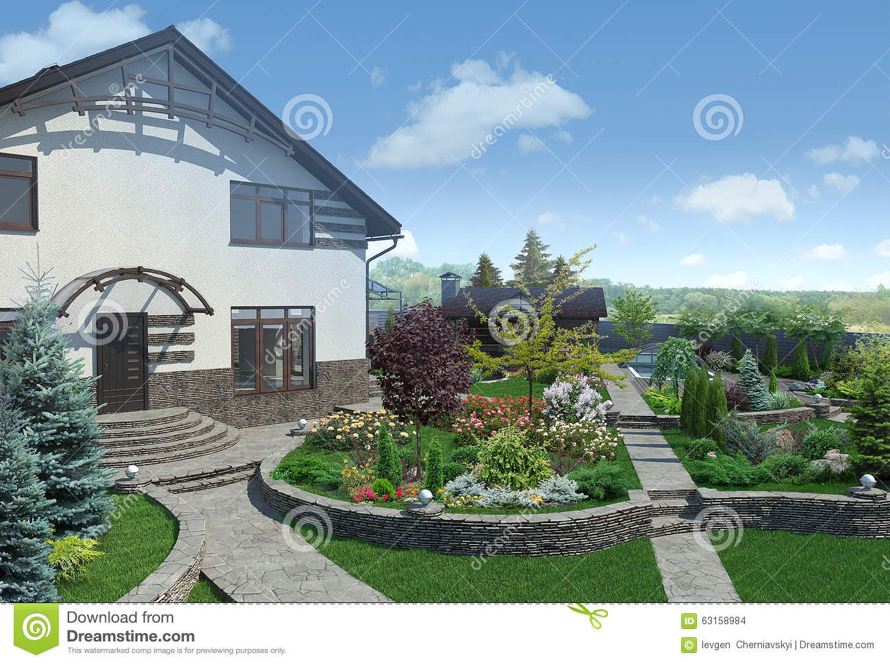 More similar stock images of 3d landscape with fall tree - Front Yard Landscape Design 3d Render Stock Images