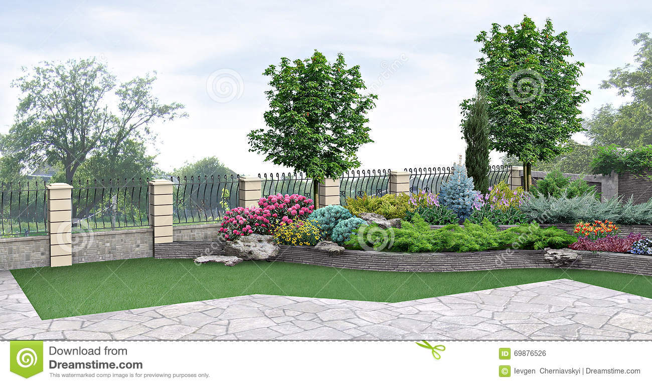 Front Yard Planting Of Greenery 3d Rendering Stock Illustration