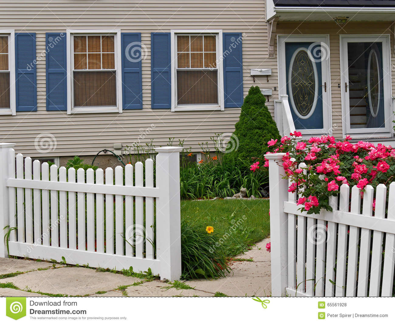 Front Yard With White Picket Fence Stock Photo Image Of