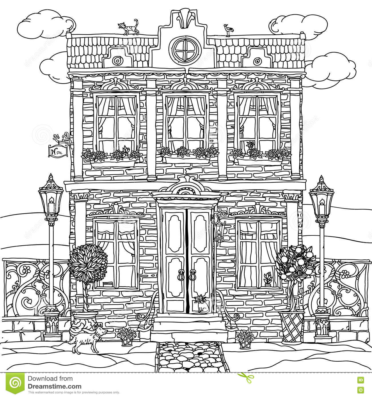 Zen colouring advanced art therapy collector edition - Zen Colouring Book Art Therapy Frontage Of A House With Flowers Cartoon Vector Cartoondealer Download Image Zen Colouring Collectors Edition