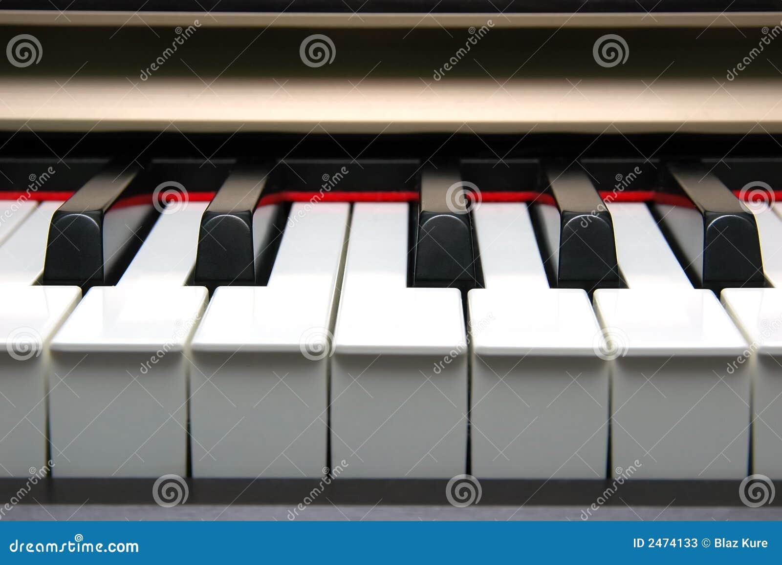 Frontal do teclado de piano