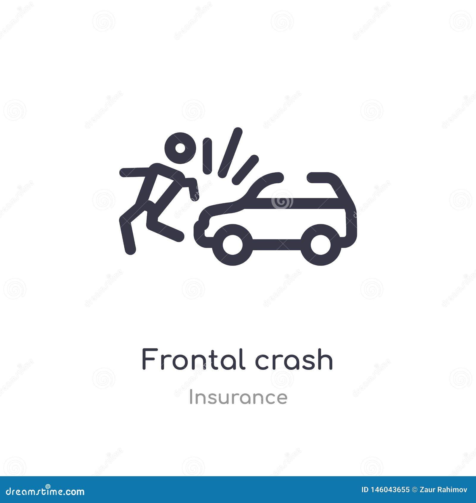 Frontal kraschöversiktssymbol isolerad linje vektorillustration fr?n f?rs?kringsamling frontal kraschsymbol för redigerbar tunn s
