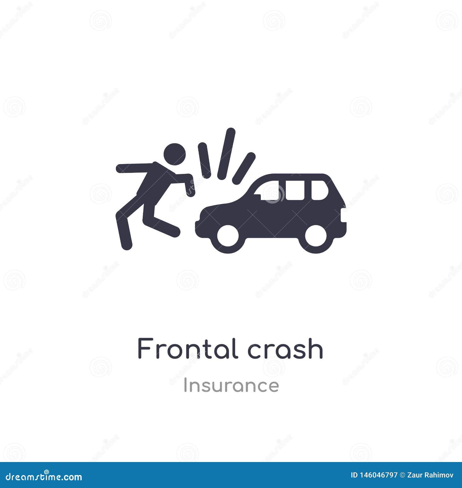 Frontal kraschsymbol isolerad frontal illustration för kraschsymbolsvektor från försäkringsamling redigerbart sjunga symbolet kan