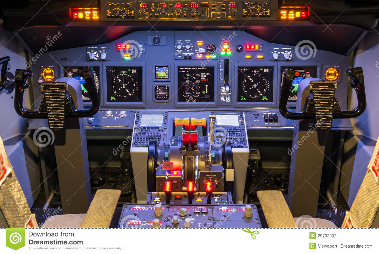 Cockpit Of An Homemade Flight Simulator - Boeing 7 Stock