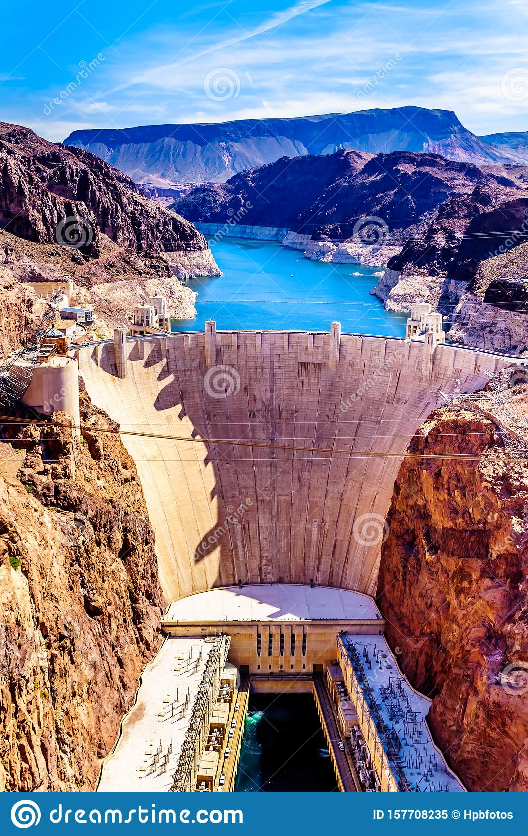 Frontal View of the Hoover Dam from the Mike O`Callaghan–Pat Tillman Memorial Bridge