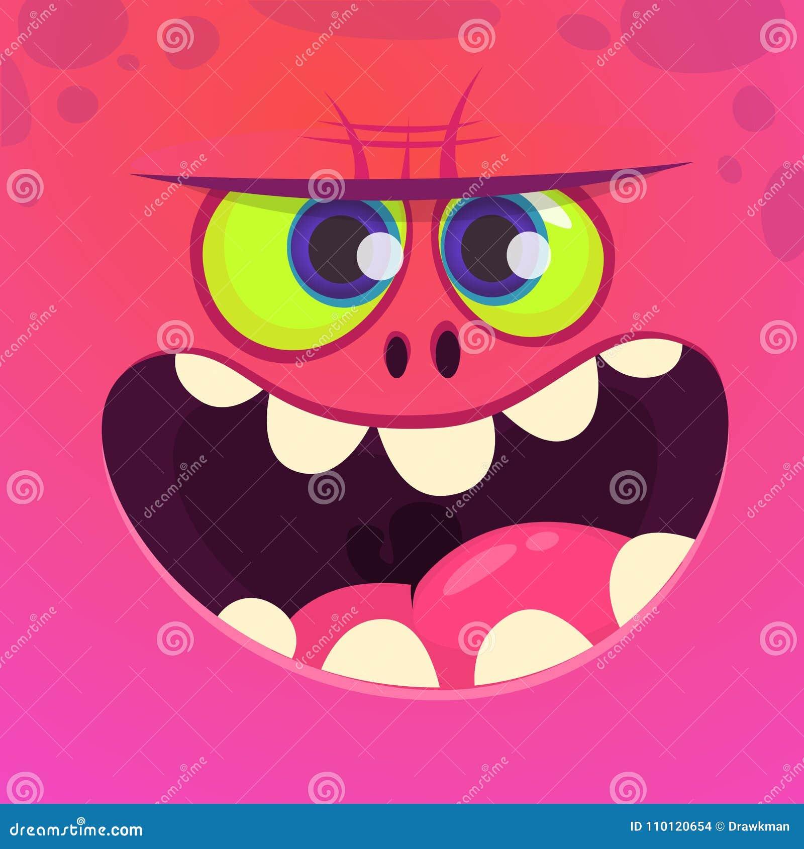 Fronte arrabbiato del mostro del fumetto con il grande sorriso Carattere del mostro di rosa di Halloween di vettore