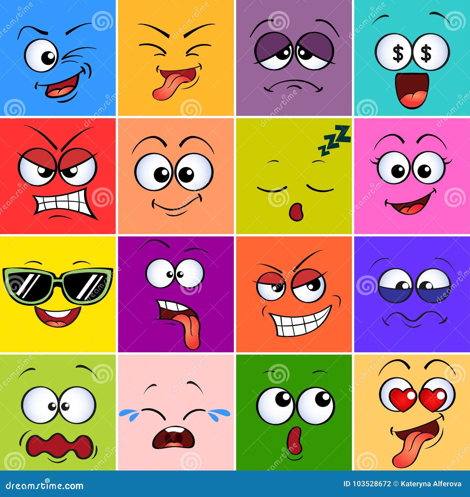 Fronte del mostro del fumetto Emoji Emoticon svegli Avatar variopinti quadrati