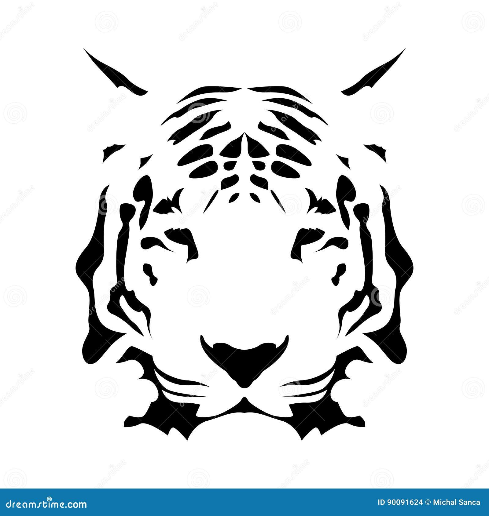 Fronte della tigre, icona astratta di vettore