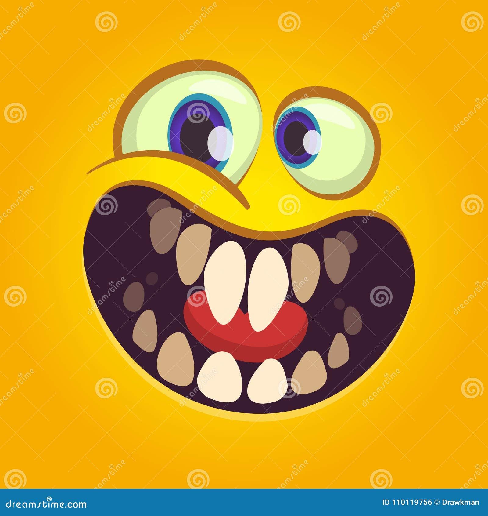 Fronte felice del mostro del fumetto Il vettore Halloween ha eccitato il mostro arancio con il grande sorriso della bocca