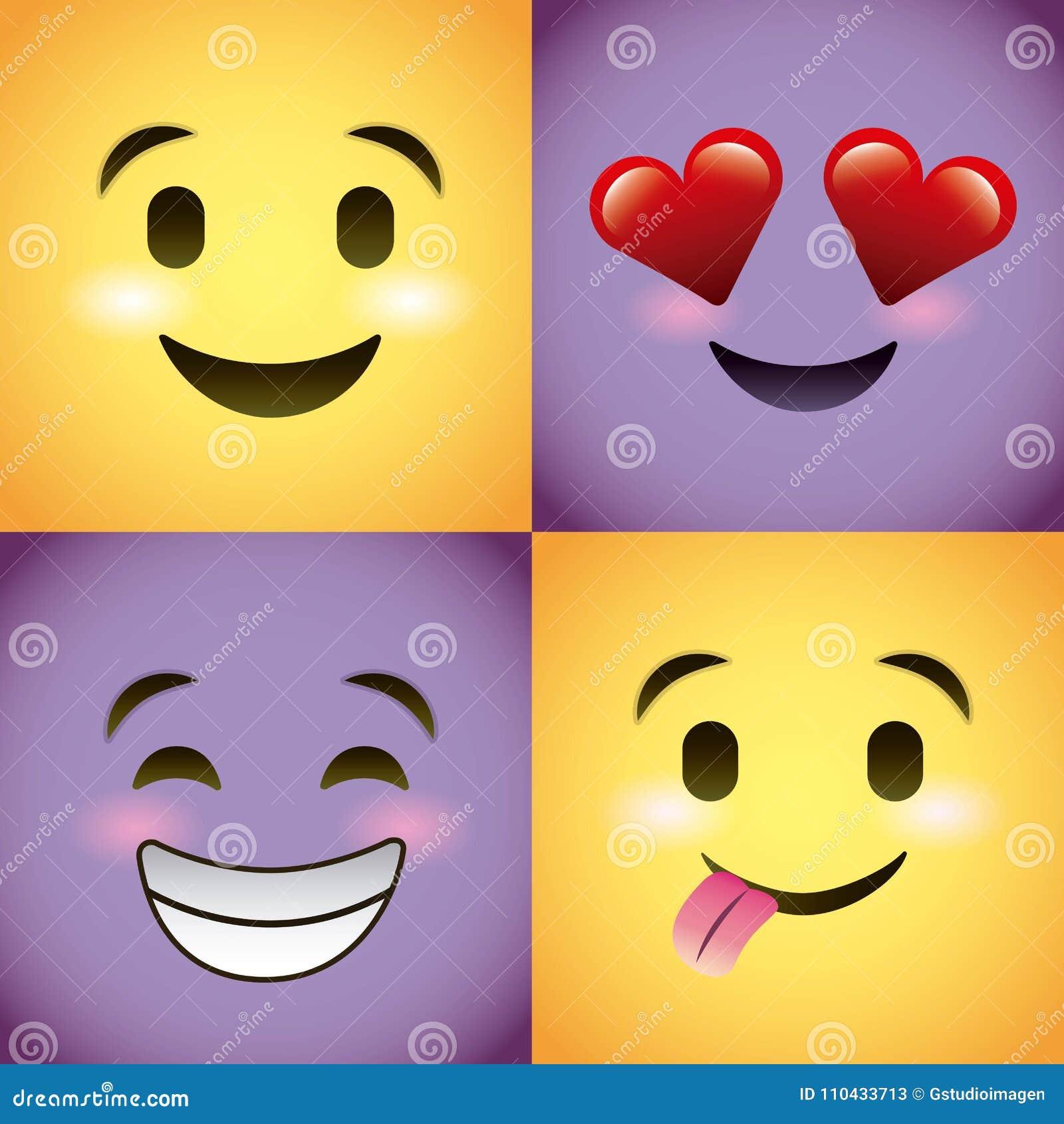 Fronte porpora stabilito di smiley con il personaggio dei cartoni
