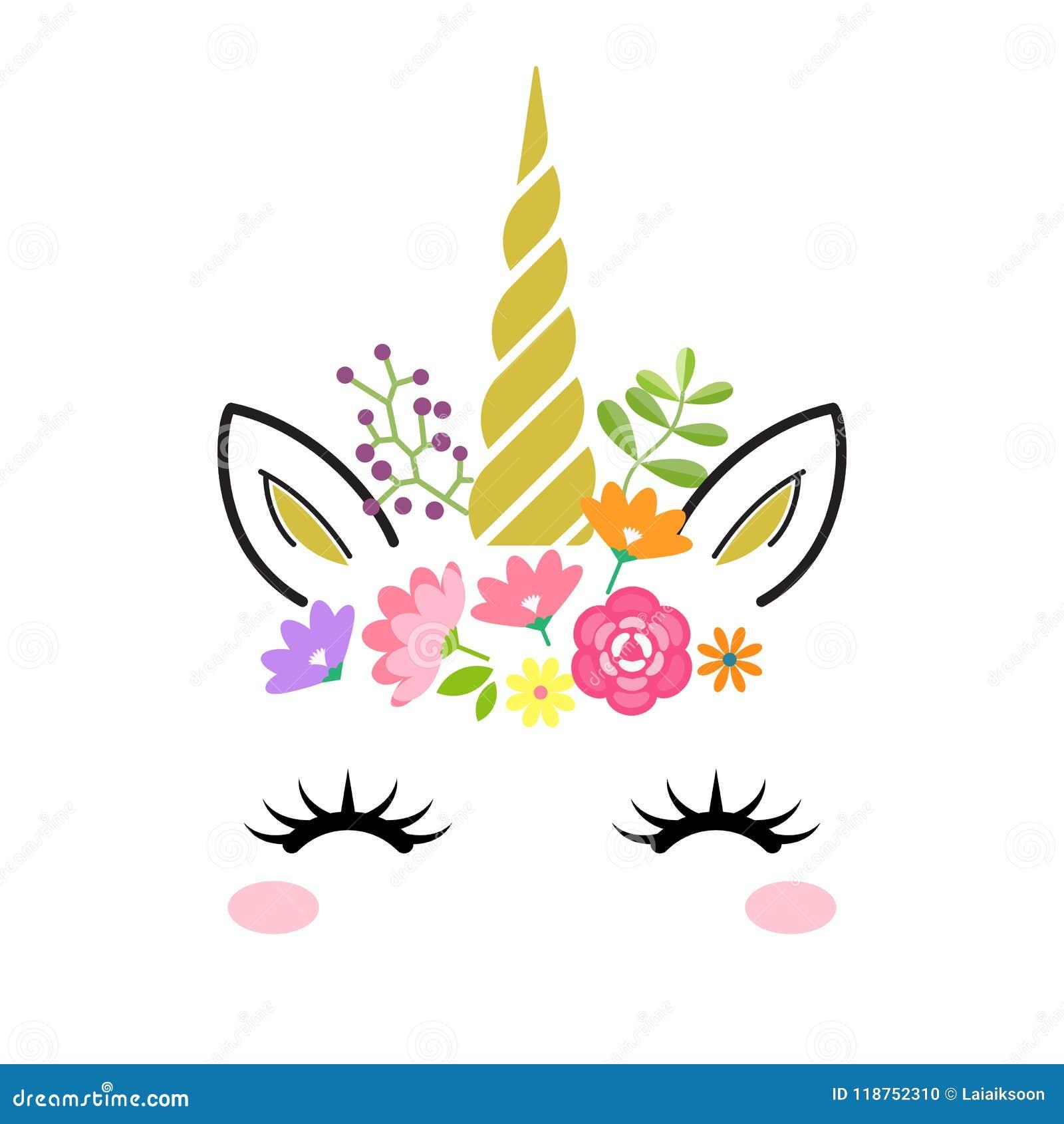 Fronte sveglio dell unicorno con il corno ed i fiori dell oro isolati su fondo bianco Illustrazione del personaggio dei cartoni a
