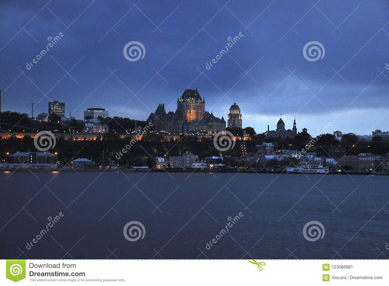 Frontenac Castle By Night From Quebec City In Canada