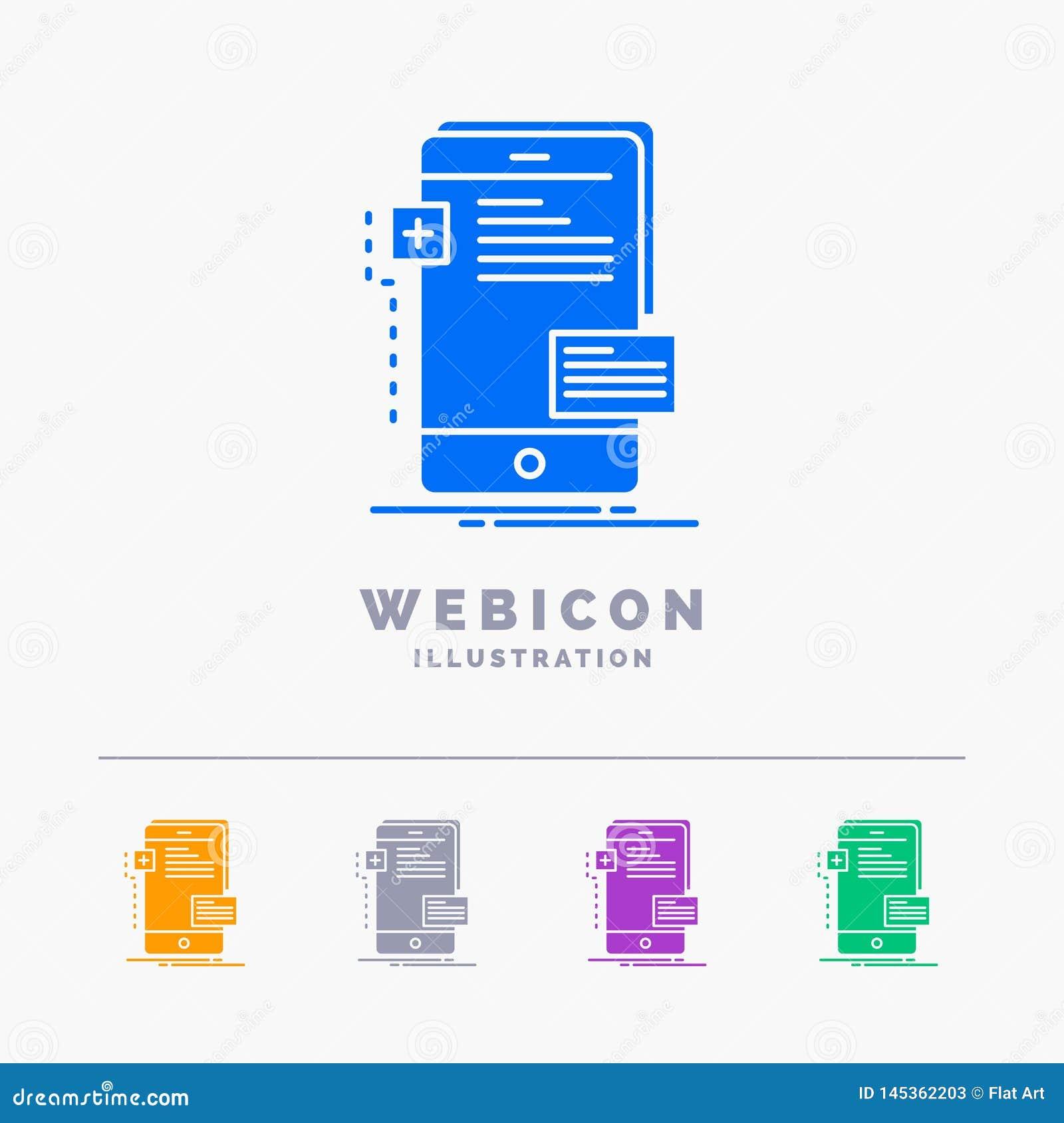 Frontend, interfejs, wisząca ozdoba, telefon, przedsiębiorcy budowlanego 5 koloru glifu sieci ikony szablon odizolowywający na bi