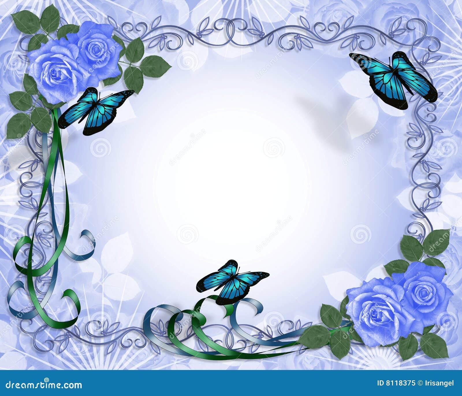 Frontera Azul De Las Rosas De La Invitación De La Boda Foto de archivo libre de regalías ...