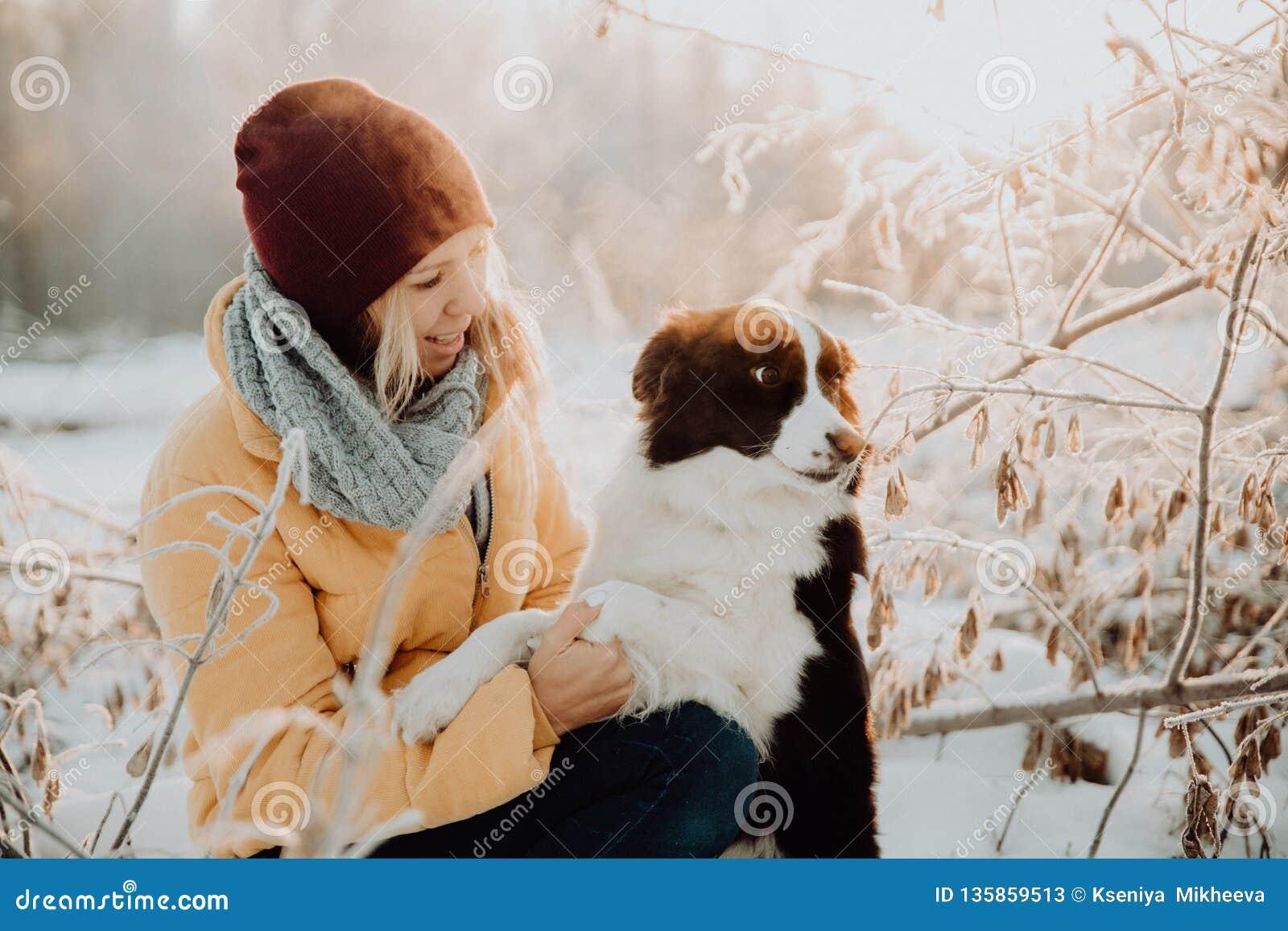Frontera blanco y negro linda mullida adorable colly que es entrenada y que acaricia a la muchacha en un parque luces y arbustos