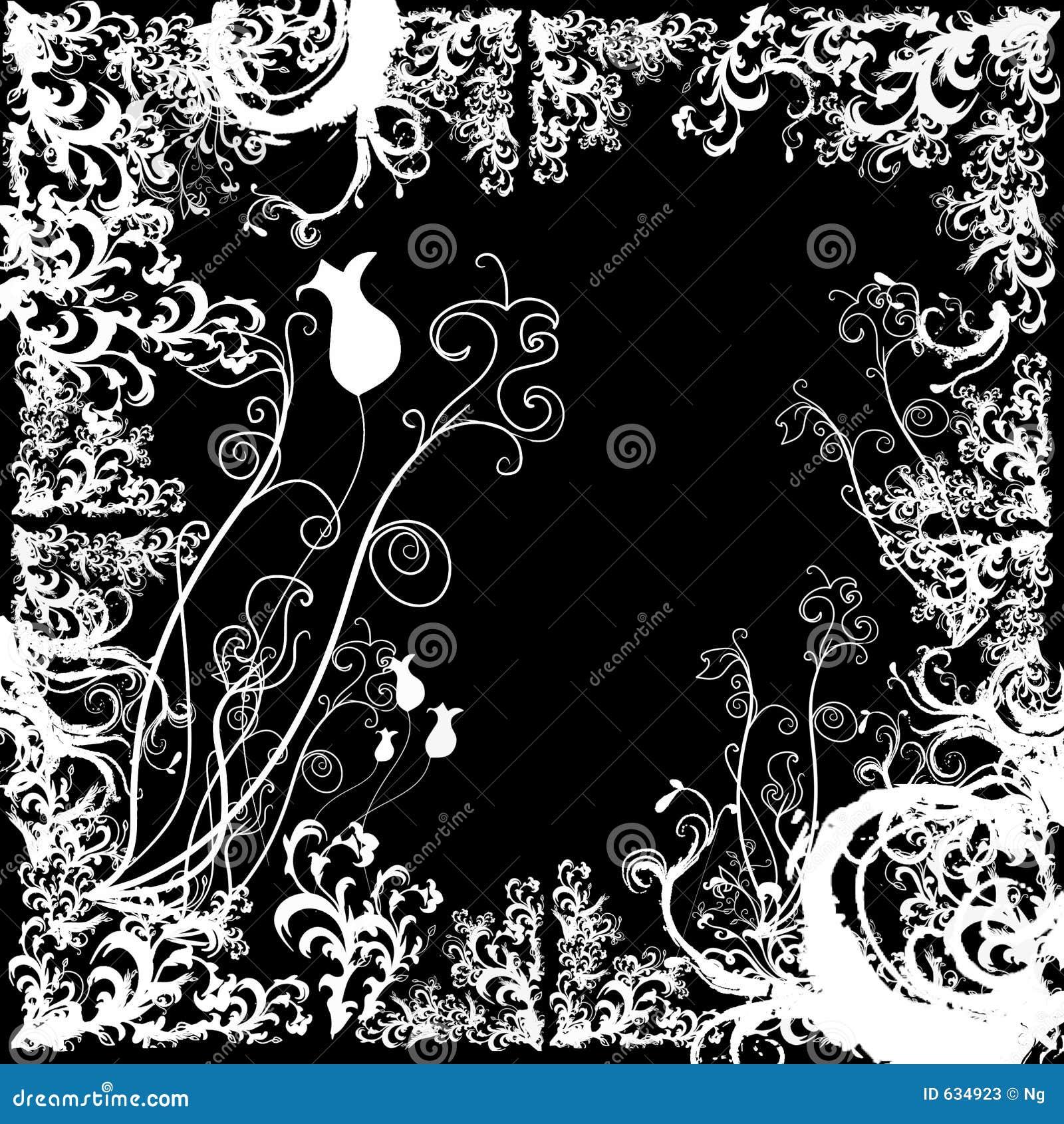 Frontera de Grunge con los elementos florales estilizados
