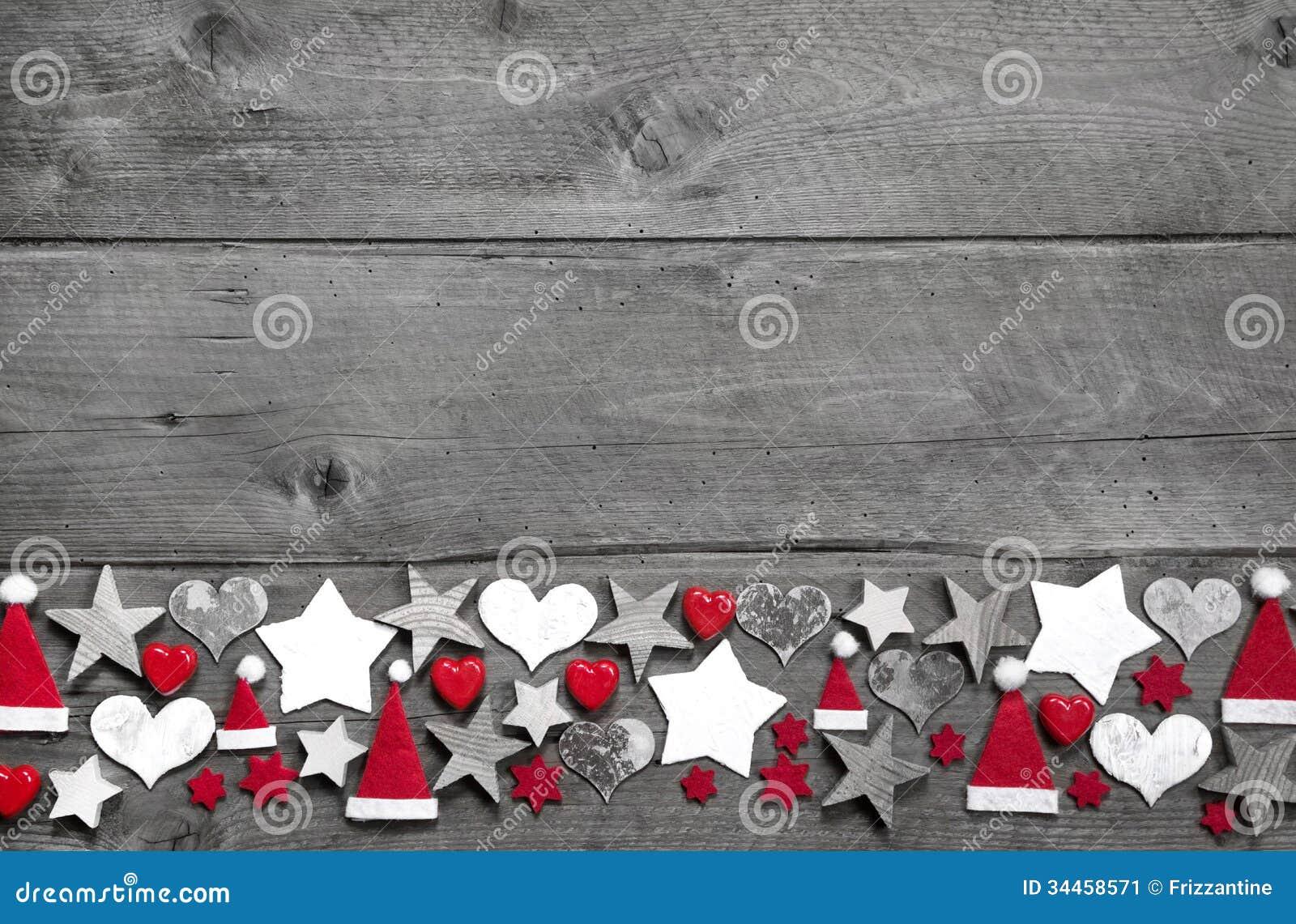 Decoracion En Gris Y Rojo ~   de la Navidad en blanco y rojo en la parte posterior de madera gris