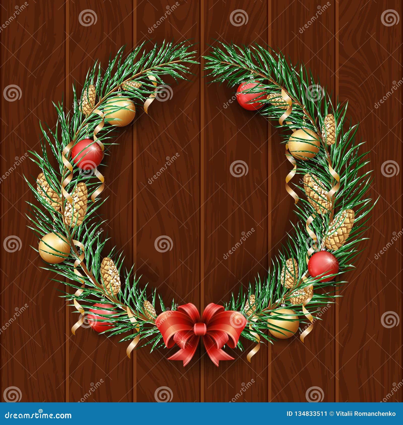 Frontera de la guirnalda de la Navidad Capítulo del pino verde Feliz Navidad y Feliz Año Nuevo 2019 Ramas de un árbol de navidad