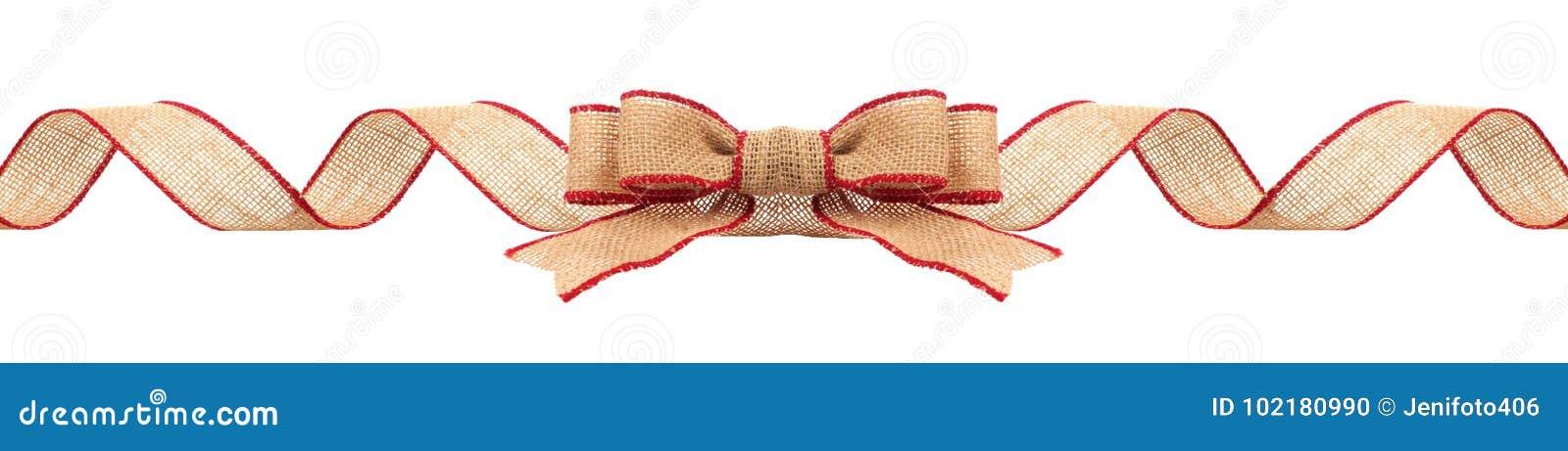Frontera de la Navidad con la cinta de la arpillera con la franja roja aislada