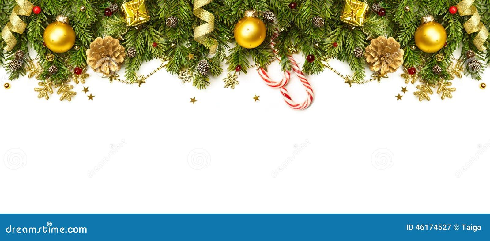 Frontera de las decoraciones de la Navidad aislada en el fondo blanco