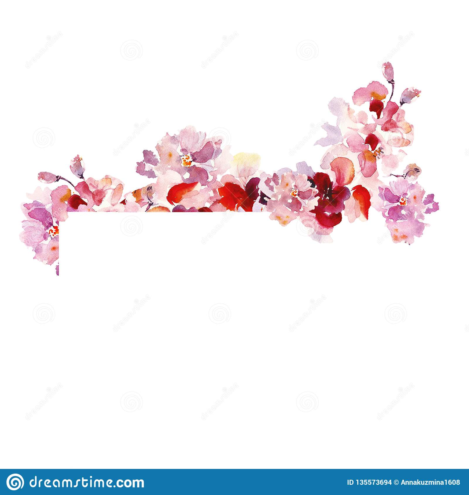 Frontera floral del marco de la acuarela con las flores rosadas delicadas de Sakura en estilo elegante lamentable del vintage, en