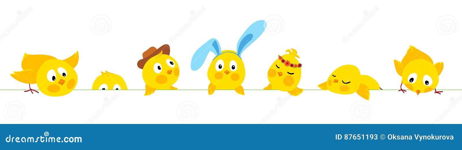 Frontera horizontal del vector de Pascua con los polluelos lindos
