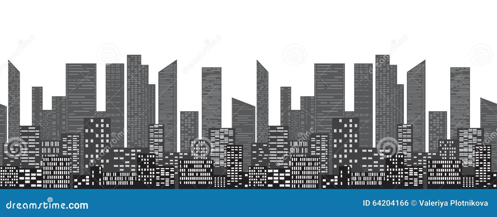 Frontera inconsútil con los rascacielos y las casas urbanos