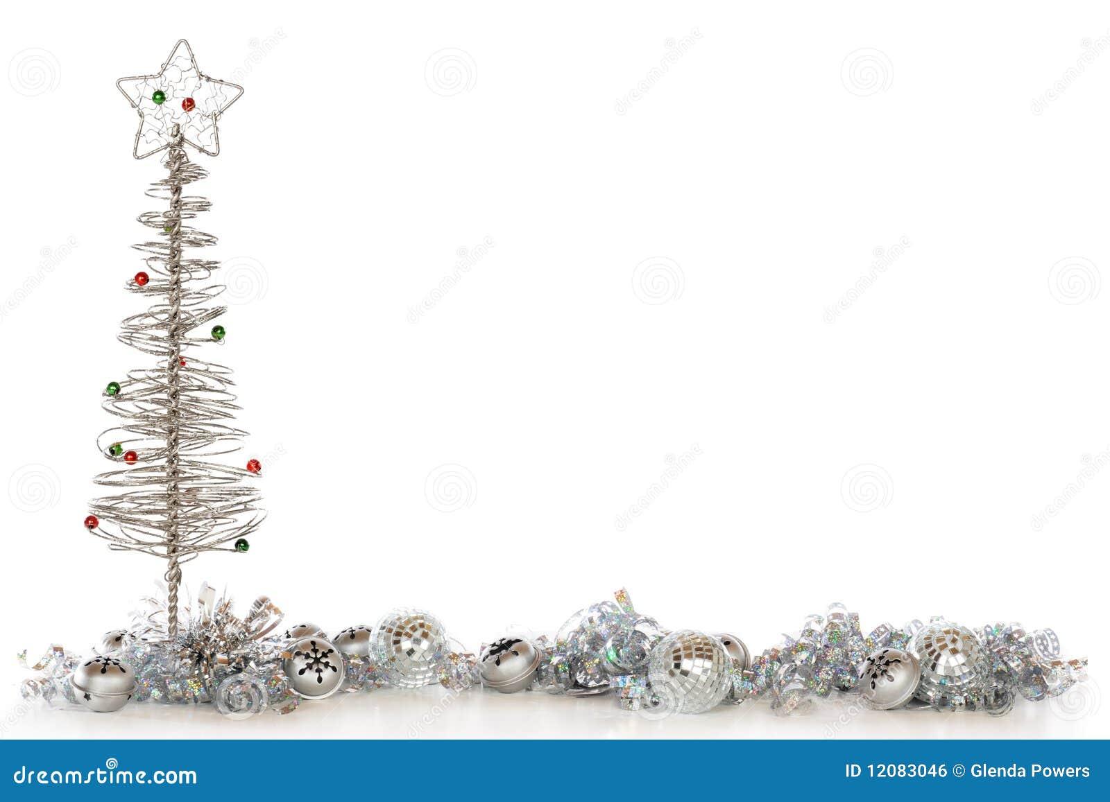 Frontera plateada de la navidad imagen de archivo libre de - Arboles de navidad dorados ...
