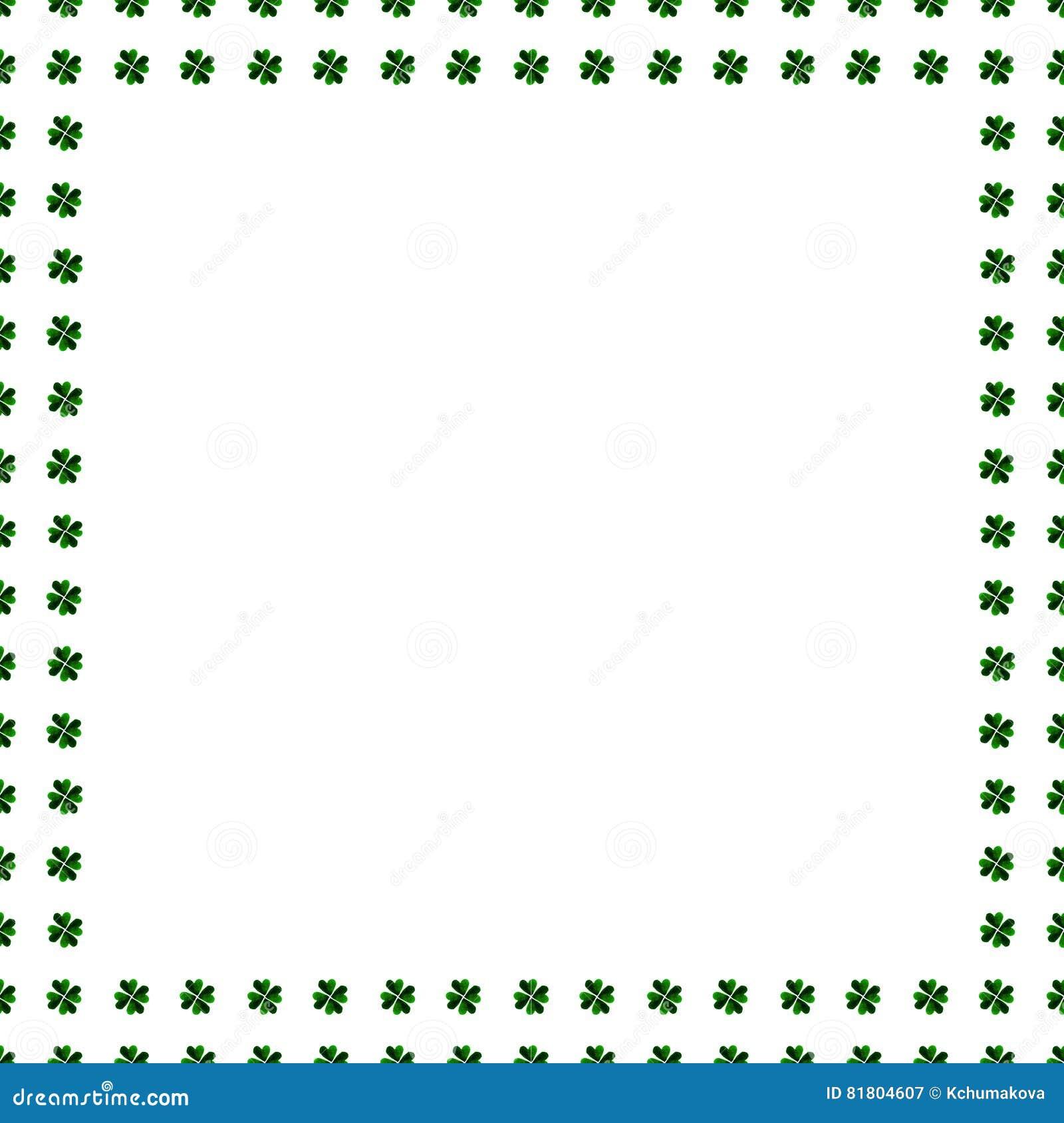 Frontera verde del trébol, marco aislado en el fondo blanco Modelo del símbolo de Irlanda Ilustración de la acuarela Plantilla de